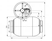 Кран шаровый стальной под приварку полнопроходной с редуктором для газа BROEN Ballomax